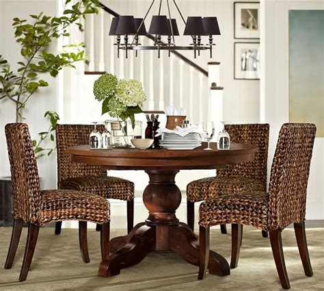 Pottery Barn Dining Room Set Sumner Extending Pedestal Table Seagrass Chair 5 Dining Set Pottery Barn