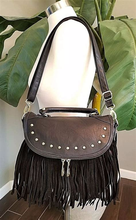 Steve Madden Multifunction steve madden mini broxy fringe black bag purse tote