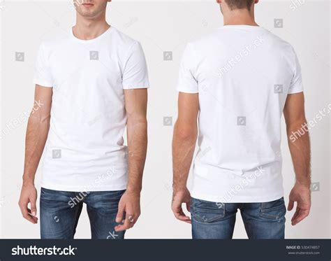 Tshirt Mens White Front tshirt design concept stock photo