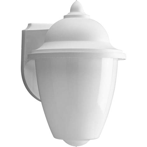 Polycarbonate Outdoor Lighting Shop Progress Lighting Polycarbonate 8 75 In H White Outdoor Wall Light At Lowes