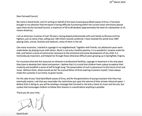 Complaint Letter To City Council dave grohl writes letter to help band that city