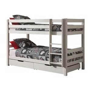 2 lits superpos 233 s en pin couleur bois blanc ou taupe avec