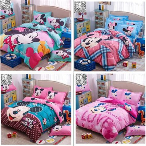 Mickey And Minnie Mouse Bedding Set Mickey Minnie Mouse Present Bedclothes Bedding Sets For 4pcs Bed Duvet Cover