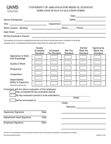 90 day performance review template best photos of employee evaluation form