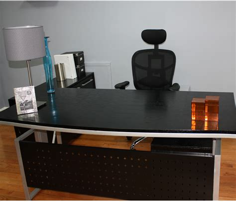 Black Desk Office Black Stained Wood Office Desk Along With White Iron Frame