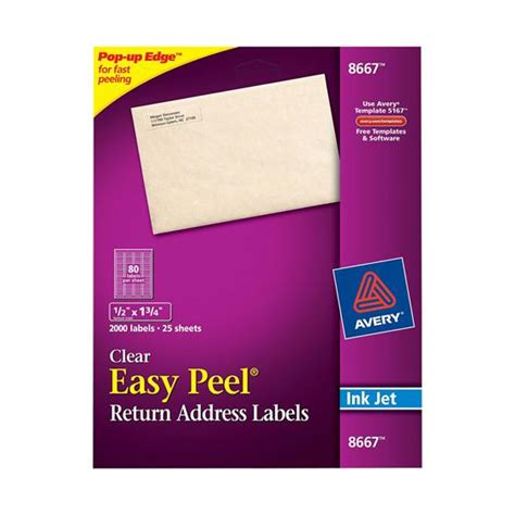 clear printable address labels avery 8667 clear easy peel return address labels 1 2 x 1