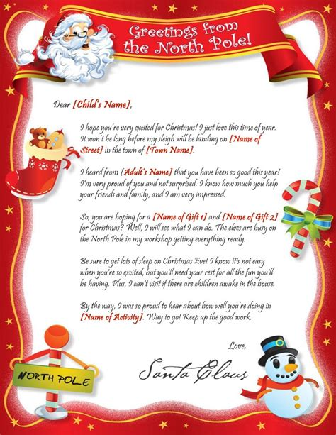 Sle Santa Letters From North Pole Best Template Collection Free Santa Reply Letter Template