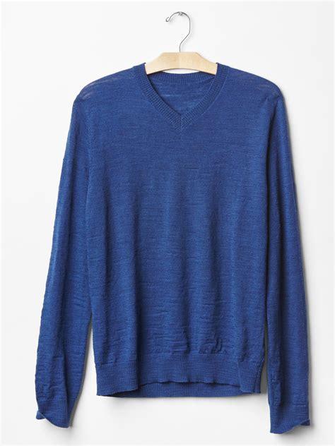Sweater Gap Gap Merino Slub V Neck Sweater Slim Fit In Blue For
