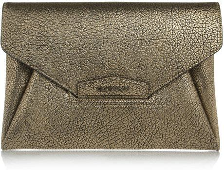 givenchy antigona envelope clutch in gunmetal leather in gold lyst