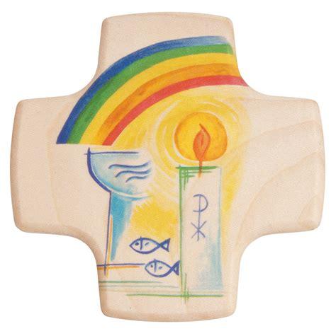 kerze wand kreuz zur taufe klein mit kerze regenbogen bei