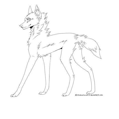 wolf lineart by shadowthewolf71 on deviantart