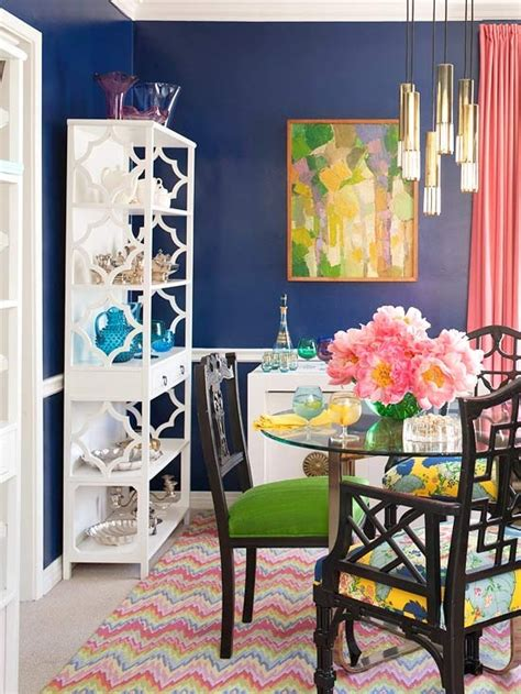 Dining Room Pink And Green Color Roundup Using Navy Blue In Interior Design The
