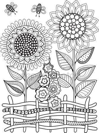 Girasoles de vector doodle. Libro para colorear para