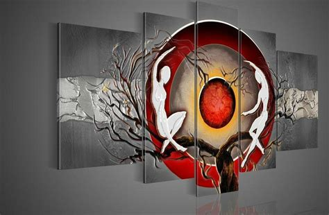hand painted wall art silver big tree red sun dance wall