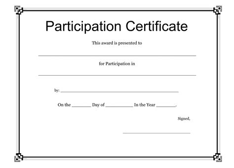 plain certificate template participation award template www imgkid the image