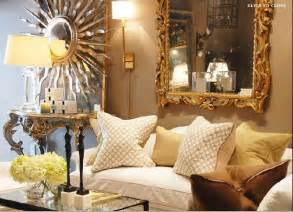 Gold rococo mirror transitional living room