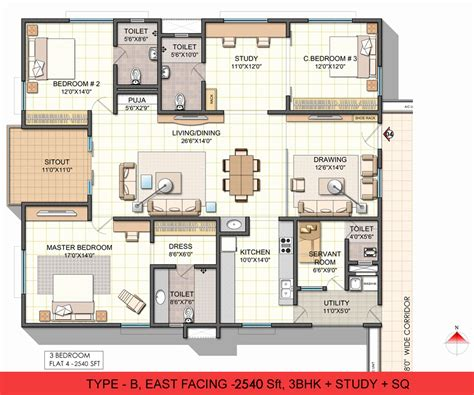 3 bhk house plans in india