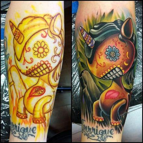 new school unicorn tattoo dia de los muertos unicorn by vince villalvazo tattoonow