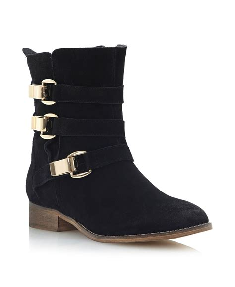 steve madden hagglesuede buckle slouch boots in black