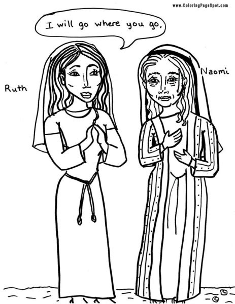 coloring page for ruth and naomi preschool coloring pages ruth and naomi coloring pages