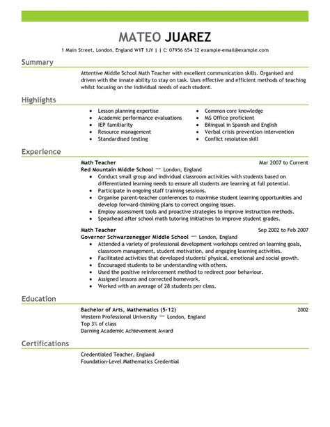 Resume Exles For Teachers With Experience Best Resume Exle Livecareer