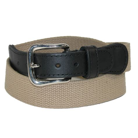 mens cotton web belt with leather tabs by boston leather