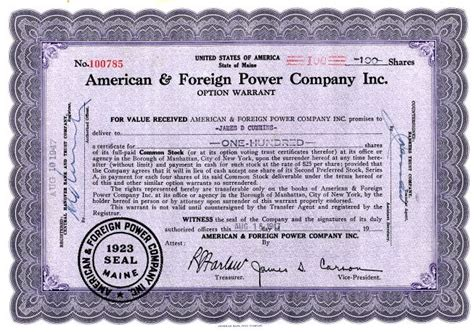Maine Warrant Search American Foreign Power Company Inc Option Warrant
