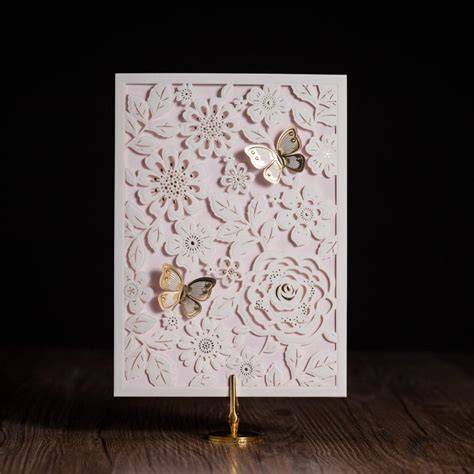 Pop Up White Laser Cut Invitations Cards For Wedding Birthday Party Gold 3d Butterfly Invitation Laser Cut Pop Up Card Template