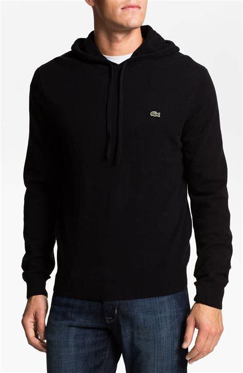 knit hoodie lacoste wool knit hoodie in black for lyst