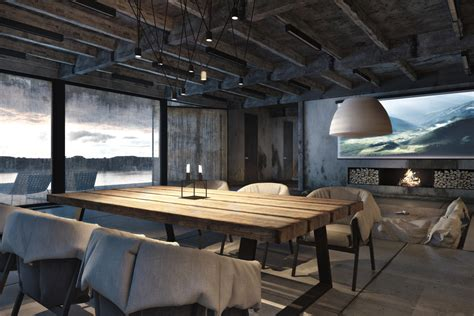 Rustic table on heavy steel legs fits in perfectly with this stark