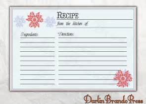 free printable recipe card template for word book covers