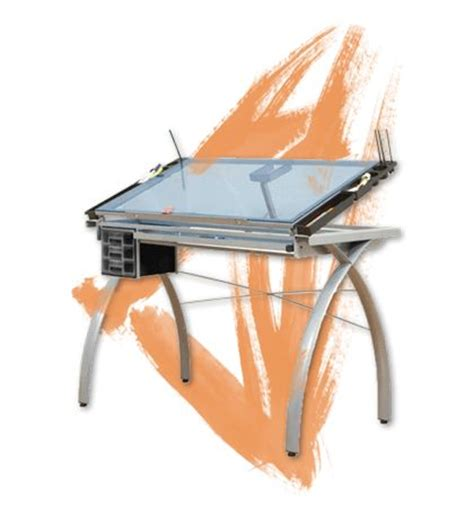 Glass Top Drafting Drawing Table Studio Designs Futura Glass Top Drawing Drafting Table Steel Legs And A Tempered Glass Top