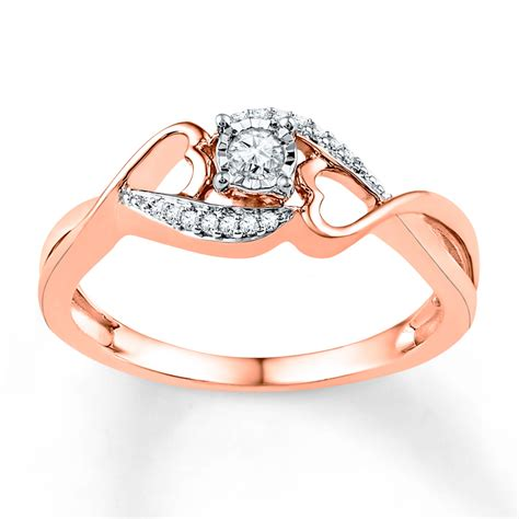jared promise ring 1 8 ct tw cut 10k gold