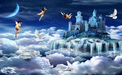 menyesuaikan  mural malaikat surga wallpaper gulungan