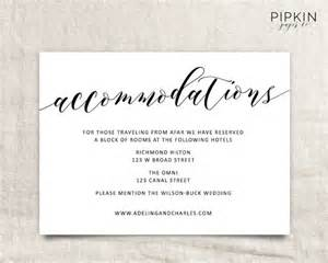 wedding accommodation card wedding accommodations template printable accommodations