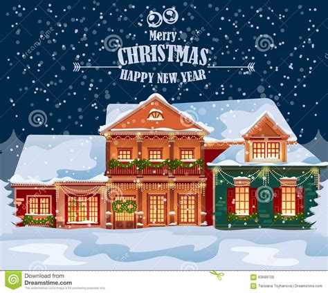snowy house happy new year merry greeting card