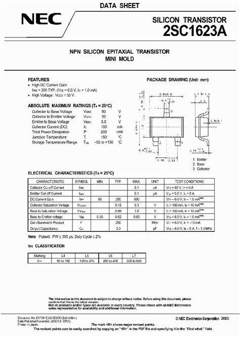 smd transistor l6 datasheet 2sc1623a l6 7682313 pdf datasheet ic on line