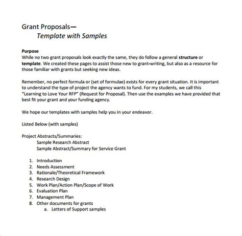 research grant template sle grant 8 documents in pdf word