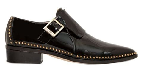 jimmy choo 30mm patent leather monk shoes in black