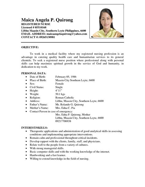 Resume Samples In The Philippines by Examples Of Resumes Sample Resume For Job Application