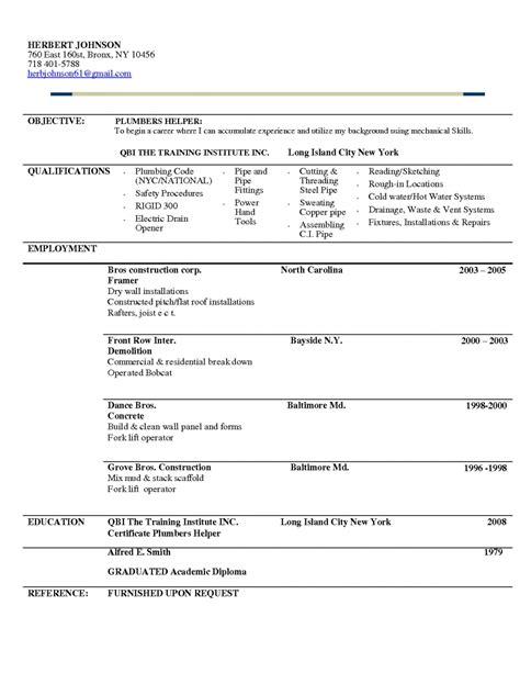 plumber resume template plumber apprentice resume sle
