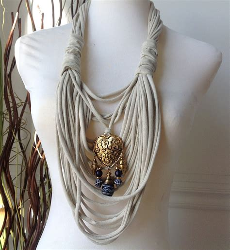 scarf necklace beaded scarf necklace beige with gold and