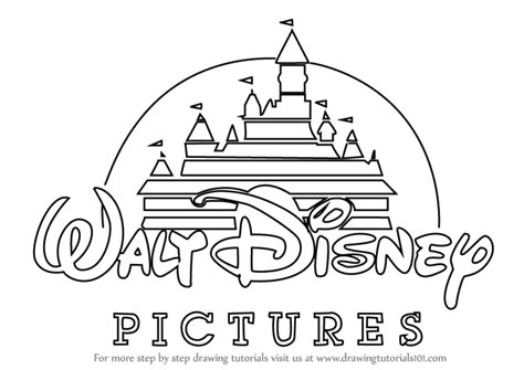 disney logo coloring page learn how to draw walt disney logo brand logos step by