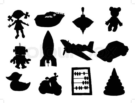 set  silhouettes   toys stock vector