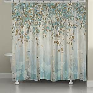 laural home 174 forest shower curtain in grey blue