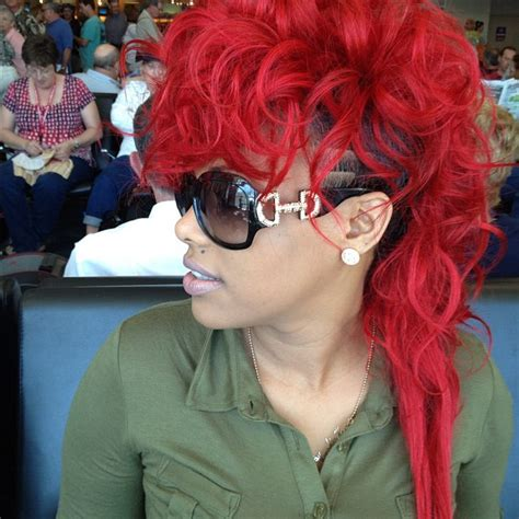 keyshia cole mohawk hairstyles keyshia dior fire red hair red rooster style