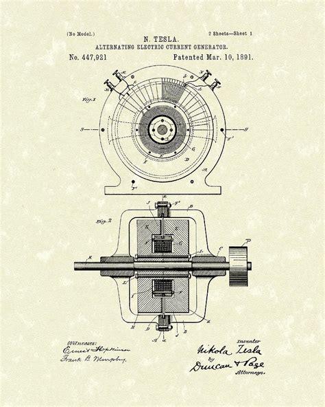 Tesla Drawings Tesla Generator 1891 Patent Drawing By Prior Design