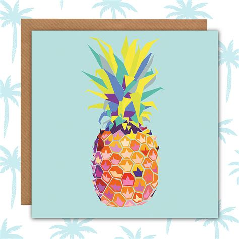 tropical cards tropical pineapple card blank by paper plane
