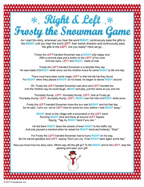 ornament exchange poem right left frosty the snowman i done one similar every year with cub scouts since