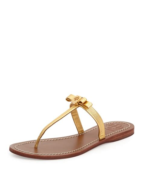 gold burch sandals burch leighanne bow sandal gold in gold lyst